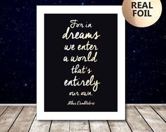 Albus Dumbledore Quote Print - Harry Potter Print - Harry Potter Poster - Harry Potter Art - Harry Potter Gold Foil Print - Bedroom Decor