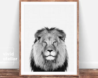 Lion Print, Safari Nursery Animal Print, Black and White, African Animal Printable, Lion Digital Print, Jungle Animal Wall Art, Baby Shower