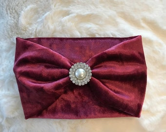 Sweet Maroon Plush Baby/Little Girl Headband