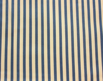 Medium Stripe, Quilting, Basic Fabric, Stripe Fabric, Striped Fabric, Navy, Tea Dyed Base, 100% Cotton Fabric, Half Meter, Extra Wide