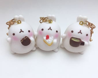 Molang rabbit keychain; Kawaii  rabbit keychain; Cute rabbit charm; Molang keychain;