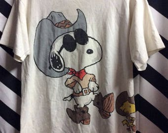 T-shirt Cowboy Snoopy Wearing Sunglasses & Woodstock