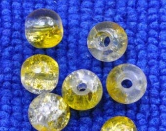 100 round yellow resin bead and clear 6 mm in size