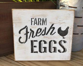 Farmhouse Farm Fresh Eggs Sign, Rustic Farm Fresh Egg Sign, egg sign, kitchen decor