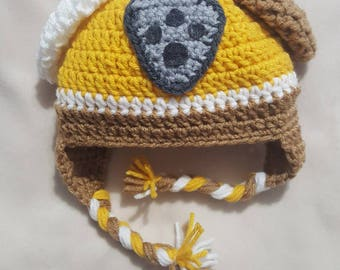 Paw Patrol inspired Rubble crocheted hat