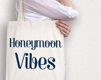 Honeymoon vibes cotton tote bag , gift for bride on honeymoon , wedding gift for bride , wedding shower present , tote bag for honeymoon