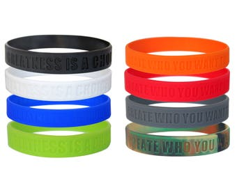 Greatness Is A Choice, Create Who You Want To Be, Motivational Silicone Wristbands