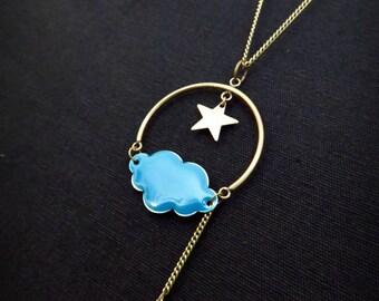 Necklace blue enamel star Rainbow and rain cloud