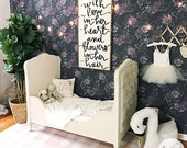 Dark Floral Wallpaper / Girls room Peony wallpaper / Traditional or removable Wallpaper L601