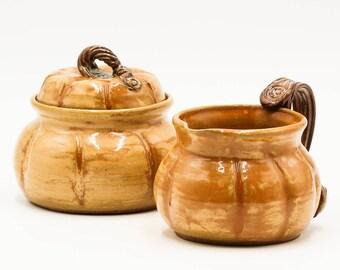 Pumpkin Sugar & Creamer Set   Sugar Bowl   Creamer   Ceramic Sugar Bowl   Ceramic Creamer   Handmade Pottery   Fall   Autumn   Fall Gift