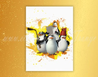 Penguins of Madagascar, Madagascar printable poster, Penguins of Madagascar Print, Madagascar Penguins, Birthday Party Art Decorations, T148