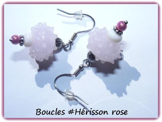 Earrings # dangling # lampwork # perles à picots # earrings unique # Hedgehog # pink # dollydoo # gift