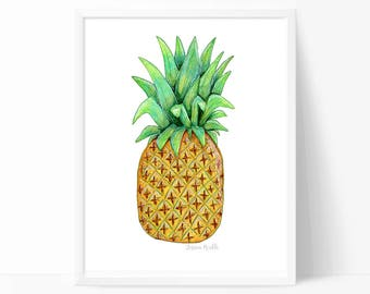Pineapple Print, Pineapple Art, Fruit, Food Illustration, Nursery Wall Art, Kids Room Art,  Printed + Shipped