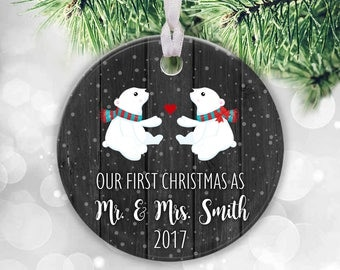 Our First Christmas as Mr & Mrs Personalised Christmas Ornament Polar Bear Ornament Newlywed Ornament, First Christmas Married Ornament Gift