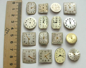 16 pieces. Watch Face Dials, From Old Watch Parts, For Steampunk Altered Art Gear, or ScrapBooking, Repair