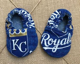 KC Royals Reversible Soft Sole Baby Shoe Crib Shoe Baby Slipper Baby Mocs KC Baseball Baby Shoe