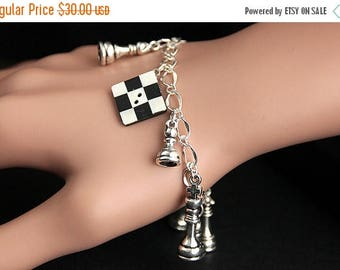 SUMMER SALE Chess Bracelet. Chess Charm Bracelet. Chess Lover Bracelet. Silver Charm Bracelet. Handmade Jewelry.