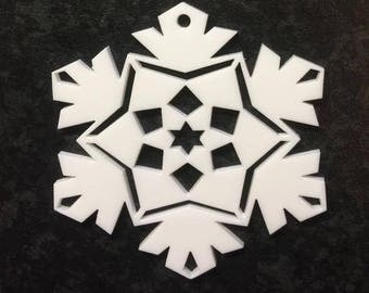 Acrylic white Christmas tree decoration snow flake laser cut perspex 3mm thick