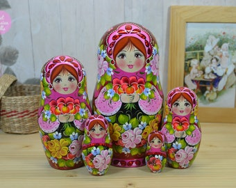 Russian babushka, Gift for mom, Wooden matryoshka, Gift for woman, Hand painted nesting dolls, Handmade art dolls in pink floral attire.