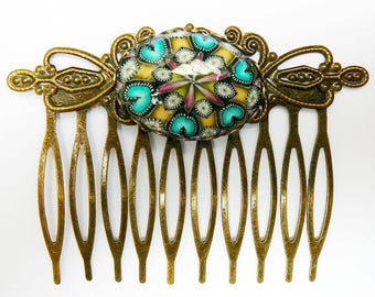 Vintage yellow mandala comb in polymer clay and brass