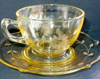SPRING SALE1930s Lancaster Jubilee Yellow Cup and Saucer Depression