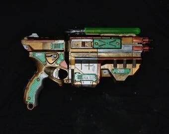 Light Up Green Glowing Sci-Fi Prop Gun Futuristic Cyberpunk Dieselpunk Weapon Post Apocalyptic Nerf Gun Cosplay Costume Convention Steampunk