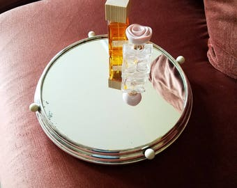 Art Deco Silverplated Vanity Tray Mirrored Vintage Round Perfume Dresser Mirror Pedestal Beach Ocean Decor