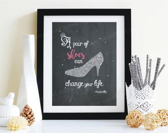 Girl's Room, Cinderella, Chalkboard, A Pair of Shoes Can Change Your Life