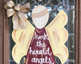 Christmas angel door sign Christmas door hanger Angel door hanger Rustic angel