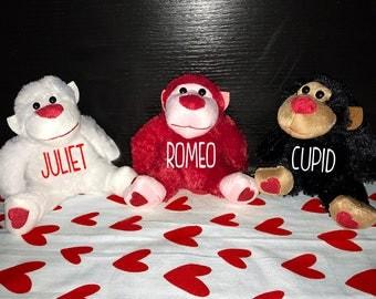 Personalized Valentines Plush Gorilla