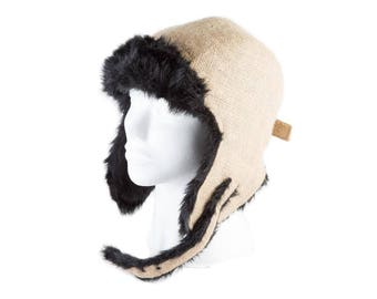 "Upcycling Aviator hat ""Café Doppio"" (winter hat from coffee sack) subject: plain (size: S)"