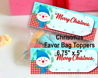 Christmas Treat Bag Toppers Christmas snack bag toppers Christmas Bag topper Printable Merry Christmas Candy Bag Topper Christmas Bag topper