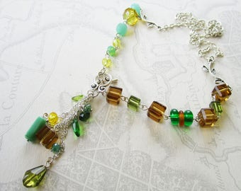 """Necklace """"Spring"""" beads in various colors green and topaz, Pearl pendant"""