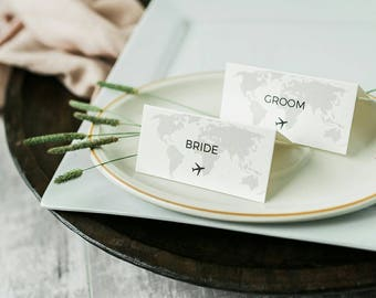 Travel theme wedding place cards (pack of ten)