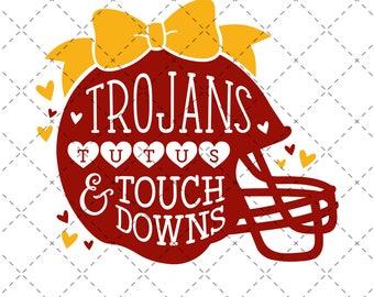 Trojans, Tutus & Touchdowns - SVG, Vector, DXF, Digital Cut File, Silhouette, Cricut, Girls Football, USC University Southern California