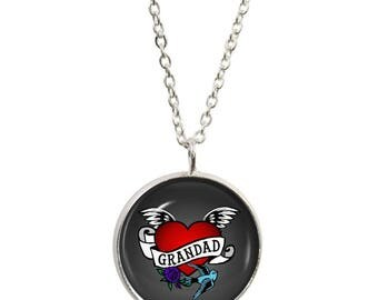 Grandad Tattoo Pendant and Silver Plated Necklace