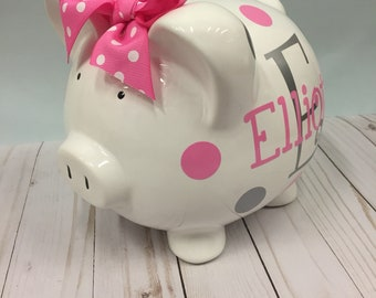 Piggy Bank-Personalized Piggy Bank-large piggy bank- piggy bank for girls-girls piggy bank-new baby gift-piggy bank Charlotte font