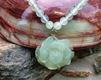 Jade Flower 925  Necklace