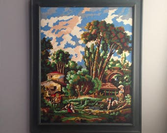 Large framed tapestry wall hanging