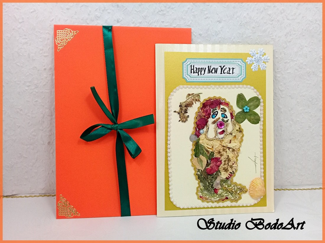 Happy New Year Cards Gnome Decor Kids Four Leaf Cloverdried