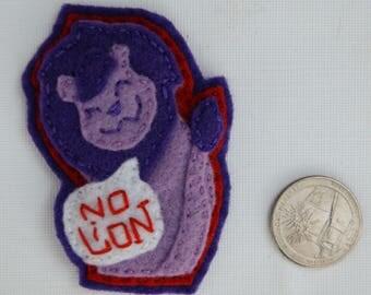 Eco-Felt Handsewn Lion Pin