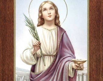 """Saint Lucy Santa Lucia  - 7"""" x 9"""" Unframed Vintage Catholic Print Picture from Italy"""