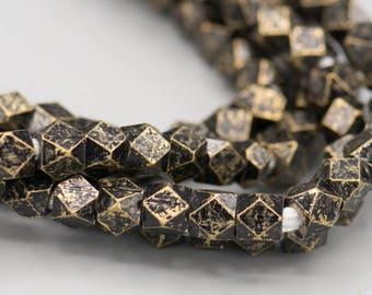 Faceted Gunmetal Brass 6mm Cornerless Cube Beads 116 Beads Jewelry Making Supplies SKU-MCC6GM-34