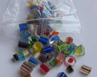 Crafting Glass Beads-Assortment Stripped  Beads - Varies Shapes