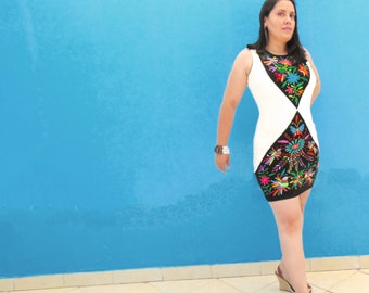 Otomi Dress, Mexican Embroidery, Color Block Dress, Embroidered Dress, Body Con Dress, Fitted Dress, Pencil Dress, Black and White Dress