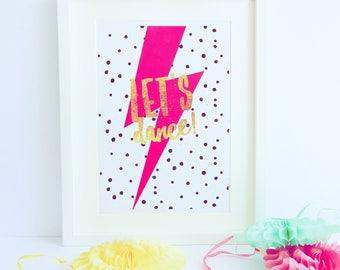 Let's Dance Print, Bowie Print, David Bowie, Dance Print, Kids Print, Nursery Print