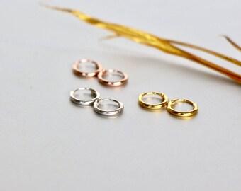 8mm Silver Ear Hoops, Gold And Pink Ear Hoops, Delicate Earrings, Piercing Hoops, Tiny Hoops, Gift Ideas, Cartilage Hoops, (ESGP36)