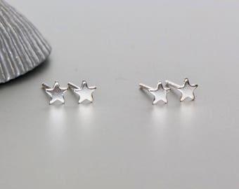Silver Star Studs, Star Errings,Simple Earrings, Minimalist Earrings, Bohemian, Delicate Sterling Silver Earrings, Gift Jewelry, (E34)
