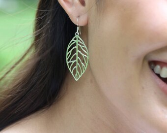 Silver Leaf Earrings, Sterling Silver Earrings, Dangle Earrings, Bohemian Jewelry, Funky Earrings, Gift Earrings, (E127)