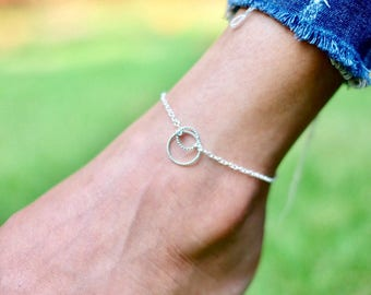 Circle Anklet, Ring In Ring Sterling Silver Anklet, Minimalist Silver Anklet, Gift Anklet, Simple Anklet, Bohemian Anklet, Foot Chain, AS118